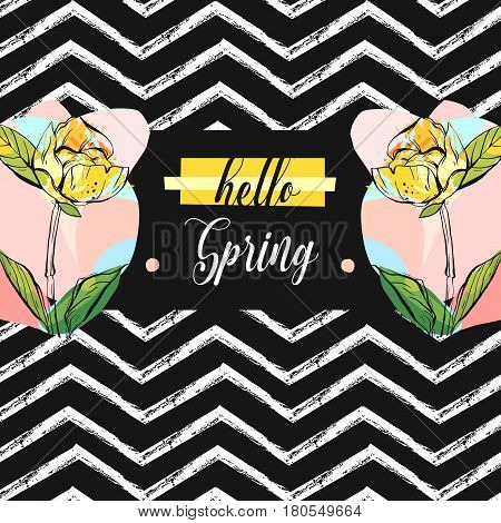 Hand drawn vector abstract creative universal unusual Hello spring greeting card illustration with colorful graphic flowers in pastel colors isolated on black and white zig zag line chevron background poster