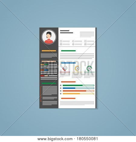 Minimalist vector flat resume cv template with simple design in dark black version. Colored text photo and infographic charts on a paper in A4 size.