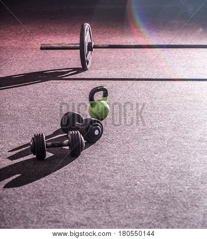 training cross fit in the gym sports paraphernalia sports concept