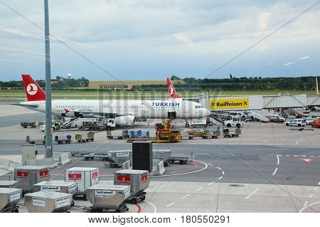 Turkish airlines airplanes parked at stand at Vienna airport on 13. june 2012