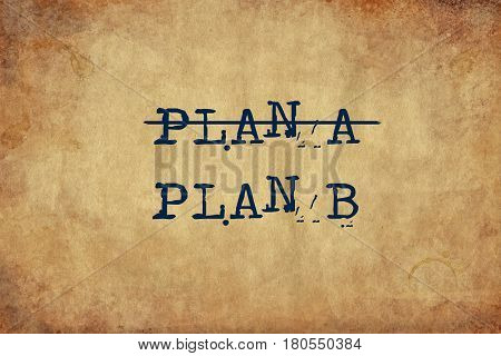 Inspiring motivation quote with typewriter text plan a, plan b. Distressed Old Paper with Typing image.