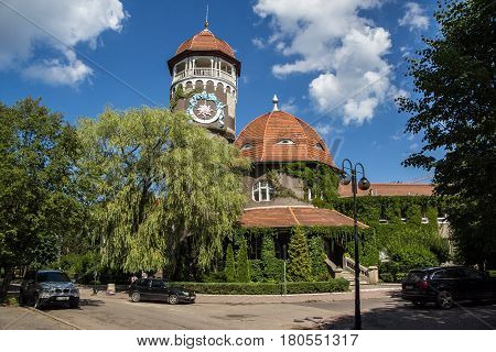 Beautiful overgrown water tower Rauschen, Svetlogorsk, Kaliningrad region, Russia