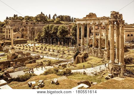 ROME, ITALY - MAY 15, 2014: View of the Roman Forum with the Temple of Saturn, Rome ,Italy