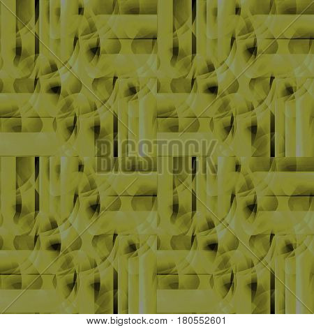 Abstract geometric seamless background. Regular modern intricate pattern in light green and olive green shades and brown elements.