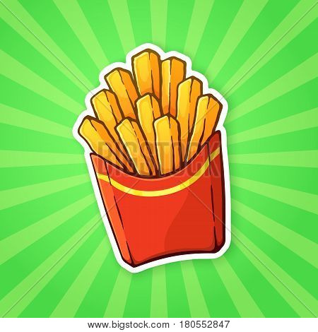Vector illustration. French fries in a paper red pack on a background with rays. Unhealthy food. Sticker in cartoon style with contour. For patches, prints for clothes, badges, posters, emblems, menus