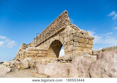 Ancient roman aqueduct in Caesarea sightseeings in Israel.