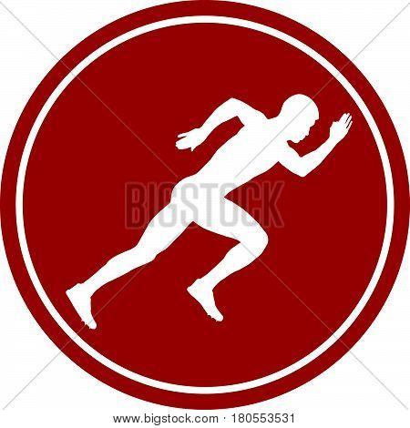 icon sprint running man athlete white silhouette red circle