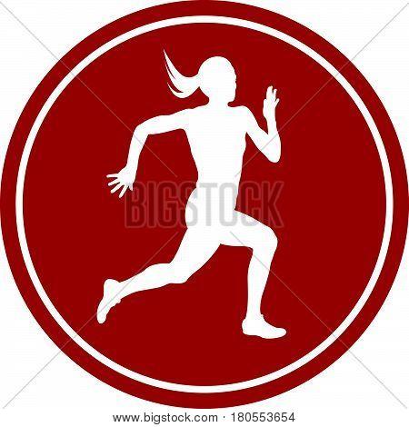 icon running sprint female athlete runner white silhouette red circle