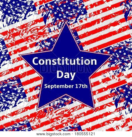 Constitution Day September 17 text on the blue star USA flags background.