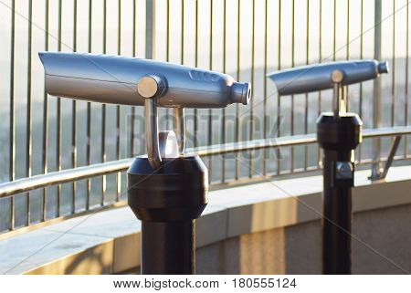 Coin Operated Telescope Binocular For Sightseeing On Skyscraper Observation Deck