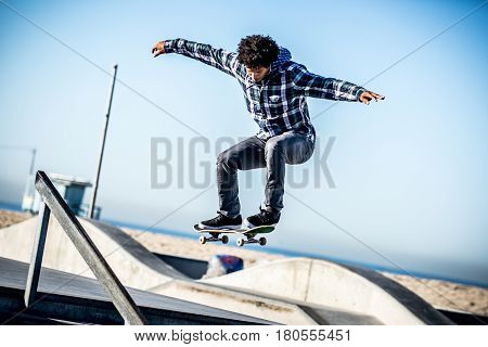 Skater in action in Los angeles in a skate park
