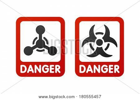 Prohibition signs set industry production vector illustration warning danger symbol forbidden safety information and protection no allowed caution information. Yellow red risk circle.