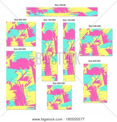 Web banners set. Abstract creative background. Standart Size