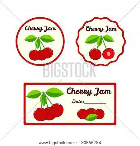 Cherry jam vector labels set. Vector illustration