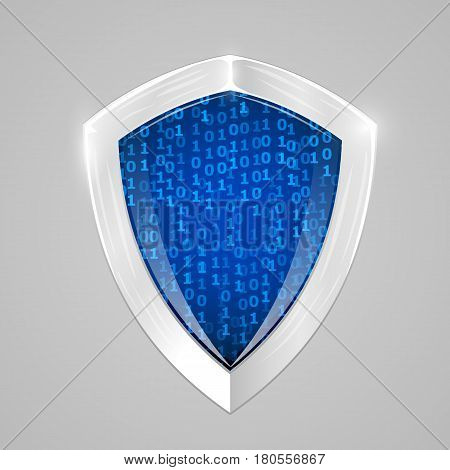 Security digital shield concept. Web security or cryptocurrency sign. Vector illustration.