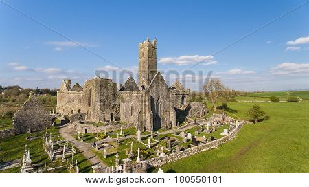 Aerial View Of An Irish Public Free Tourist Landmark, Quin Abbey, County Clare, Ireland. Aerial Land
