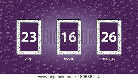 Flip Countdown timer. Count down day hours and minutes, vector business sign.