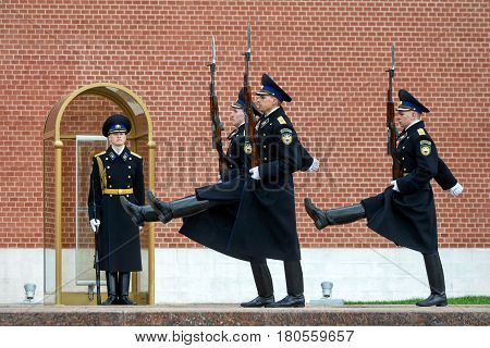 MOSCOW - APRIL 28, 2016: Changing of the Honor Guard Ceremony at the Tomb of the Unknown Soldier at the Kremlin Wall in Alexander Garden.