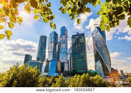 MOSCOW - AUGUST 10, 2016: Skyscrapers of Moscow-City (Moscow International Business Center) over Moskva River. Moscow-city is a modern commercial district in central Moscow.
