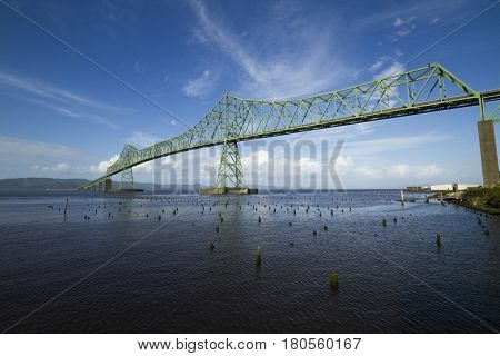 The Astoria Megler Bridge spanning the Columbia River.