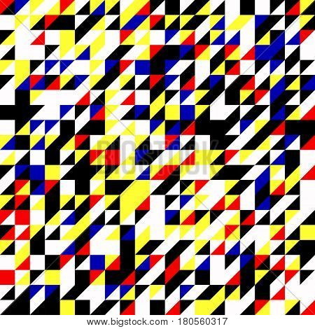 Geometric background. Vector illustration colored in Piet Mondrian Style