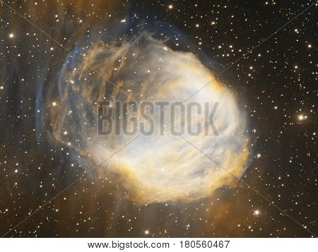 Computer generated 3D illustration with starry sky and astronomical fog