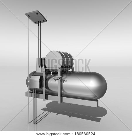 Computer generated 3D illustration with an air compressor against a gray background