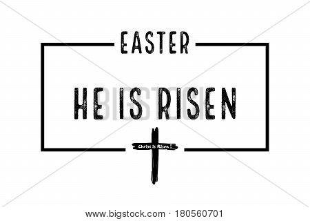 Illustration For Easter Christ Is Risen In Frame, White Background
