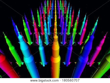 Computer generated 3D illustration with masses of colorful rockets against a black background