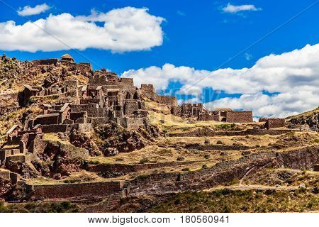 Ruins Of Ancient Citadel Of Inkas On The Mountain, Pisac, Peru