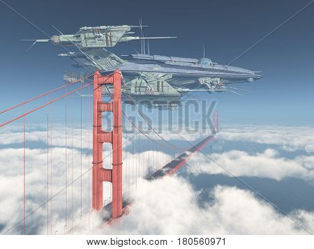 Computer generated 3D illustration with huge spacecraft and Golden Gate Bridge in San Francisco
