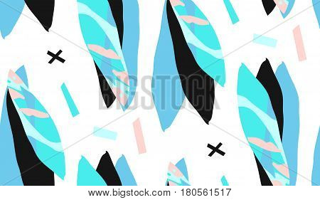 Hand made vector abstract textured trendy creative collage seamless pattern in tiffany blue colors isolated on white background with different textures and shapes.Modern graphic design.Unusual artwork