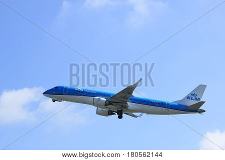 Amsterdam the Netherlands - April 2nd 2017: PH-EZO KLM Cityhopper Embraer ERJ-190STD takeoff from Polderbaan runway Amsterdam Airport Schiphol