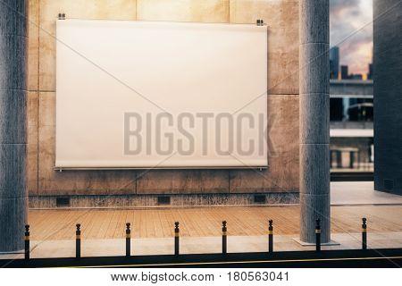 Blank White Billboard, Night Time