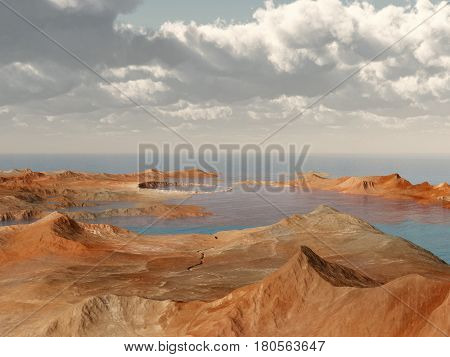 Computer generated 3D illustration with a crater landscape by the sea