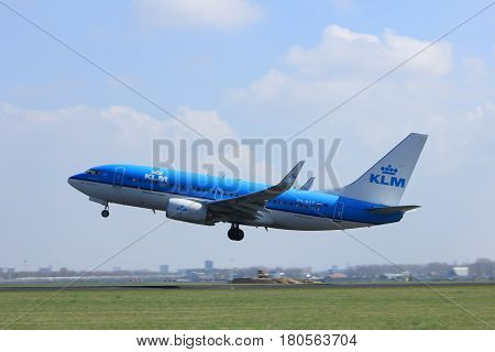 Amsterdam the Netherlands - April 2nd 2017: PH-BVC KLM Royal Dutch Airlines Boeing 777-300 takeoff from Polderbaan runway Amsterdam Airport Schiphol