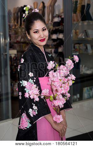 Moscow, Russia - April 02, 2017: Geisha In Traditional Japanese Kimono In The Shopping Center Otrada