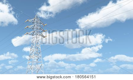 Computer generated 3D illustration with an overhead power line