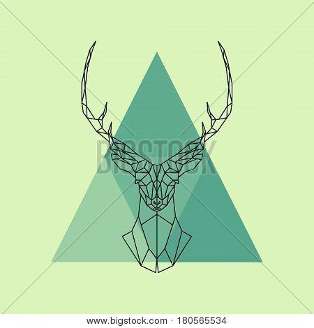 Polygonal reindeer head. Abstract geometric animal. Vector illustration.