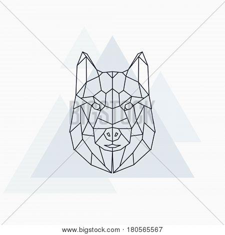 Husky dog husky. Abstract geometric animal. Vector illustration.