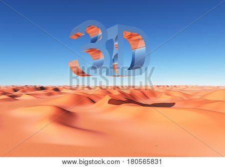 Computer generated 3D illustration with the abbreviation 3D over a sand desert