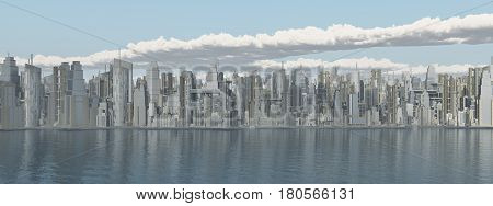 Computer generated 3D illustration with a big city by the sea