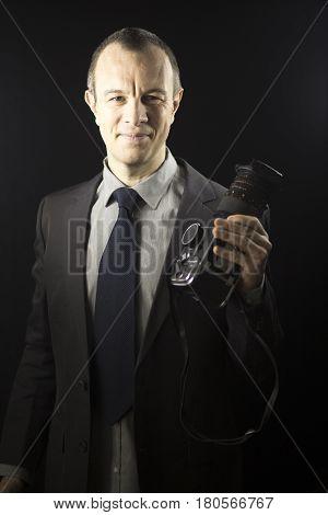 Photographer In Studio In Suit