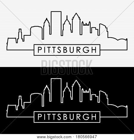 Pittsburgh skyline. Linear style. Editable vector file.