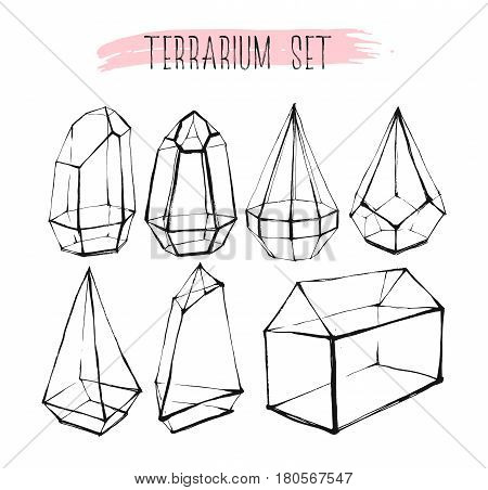 Hand drawn vector graphic line glass terrarium collection set isolated on white background.Design for gardeningdecorationinterior.Save the datewedding elements in scandinavian style.Hipster concept