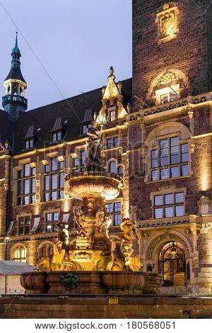 Jubilee fountain in front of the town hall in Wuppertal-Elberfeld near Nacht Germany NRW.