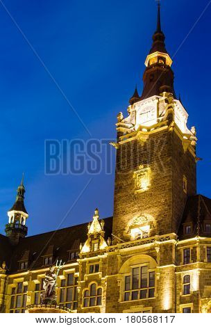 City Hall in Wuppertal-Elberfeld at night Germany NRW.