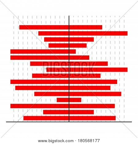 Horizontally red bars chart. Infographic for presentation business banner document. Vector illustration