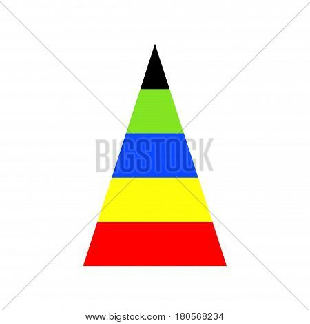 Pyramid graph with spectrum of colors. Business chart diagram template. Vector illustration