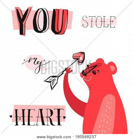 Hand drawn vector abstract unique cartoon Valentines day concept card template with cute bearheart shape arrow and modern ink calligraphy phase You stole my heart in pastel colors isolated on white
